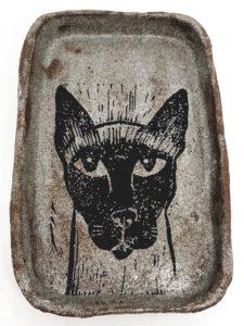 ring dish, ring tray, trinket dish, trinket tray, handmade, stoneware, ceramic, linocut, siamese cat, cat theme, jane adas ceramics