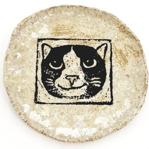 coaster, ceramic coaster, cat themed, cat design, linocut, jane adams ceramics, st just,