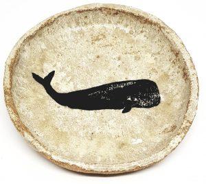 ring dish, trinket dish, whale theme, linocut, whale design, jane adams ceramicss, bowl, dish stoneware, handmade