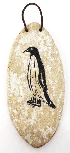 medium wall hanging cream glaze penguin design