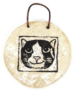 wall hanging, wall plaque, cat design, linocut, cat gifts, jane adams ceramicss,