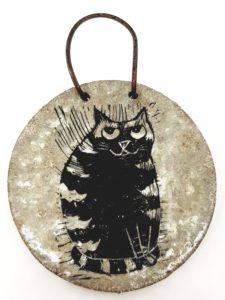 wall hanging, ceramic wall hanging, ceramic plaque, wall plaque, cat design, linocut. stripey cat, cat gift, pottery cats, ceramic cats, jane adams ceramics, pawprint designs, cornwall