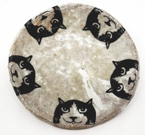 round trinket dish, round dish, trinket dish, trinket bowl, cat design, black and white cats, cat faces, jane adams ceramics, cat bowl, dish, cat pottery, cat gifts, stoneware, handmade, pottery cats, cornwall, pawprint designs