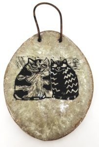 wall hanging, wall plaque, ceramic wall hanging, linocut, cat design, cats, cat gifts, cat pottery, jane adams ceramics, handmade ceramics, pottery, cornwall