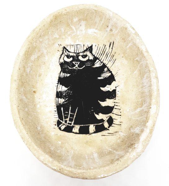 oval bowl, cream glaze, linocut, stripey cat design, handmade, stoneware bowl, jane adams ceramics, cornwall, pottery cat, pottery bowl, studio ceramics, cat gifts