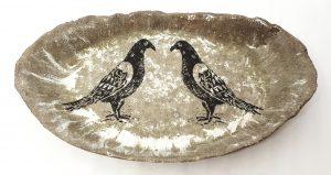oval bowl, ceramic bowl, grey glaze, pigeon design, linocut, pawprint designs, ceramic bowl, handmade bowl, pigeon design, jane adams ceramics, cornwall