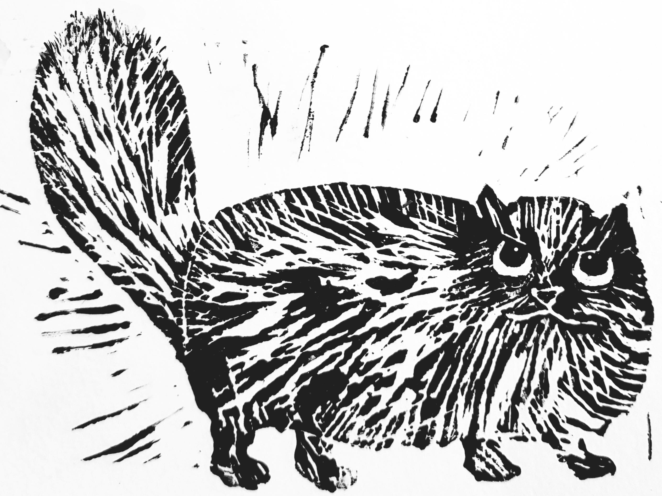 Persian cat jane adams ceramics card greetings card birthday card linocut cat persian m4hsunfo