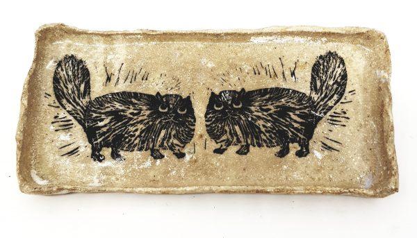 rectangular trinket dish persian cats,, cream glae, two cats, linocut, cat pottery, cat presents, cat pottery, trinket bow, trinket, dish, linocut, jane adams ceramics
