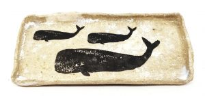 trinket dish, whales, ceramic, pottery, handmade, jane adams ceramics, pawprint designs