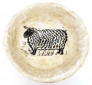 bowl, stoneware bowl, cream glaze, sheep design, handmade stoneware, pottery bowl, linocut, original design, jane adams ceramics, cornwall, st just