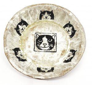 bowl, cat themed, ceramic bowl, handmade ceramics, stoneware bowl, jane adams ceramics