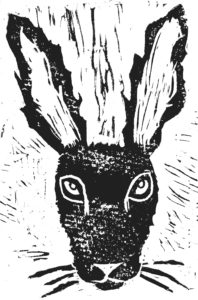 greetings card, card, cards, hare. birthday card, hare theme, linocut, jane adams
