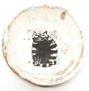 trinket dish ceramic bowl, small trinket dish, ring dish, cat themed, cat design, linocut, jane adams ceramic, cream