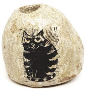 pebble vase, vase, stoneware vase, handmade vase, bud vase, stoneware, cat themed, jane adams ceramics