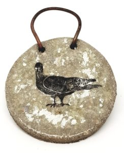 wall hanging, grey glaze, pigeon design, ceramic plaque, wall plaque, handmade ceramics, pigeon designs, bird plaque, jane adams ceramics, cornwall