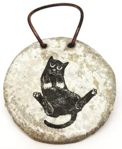 wall hanging, ceramic wall hanging, grey glaze, black cats, ceramic cats, cat designs, jane adams ceramics, pawprint designs, st just