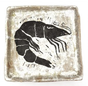 trinket dish, square dish, trinket bowl, trinket tray, square tray, linocut, pawprint designs, jane adams ceramics, cornwall