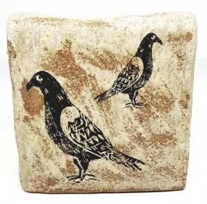 square vase, vase, pigeon, linocut, bird themed, pottery vase, studio pottery, jane adams ceramics