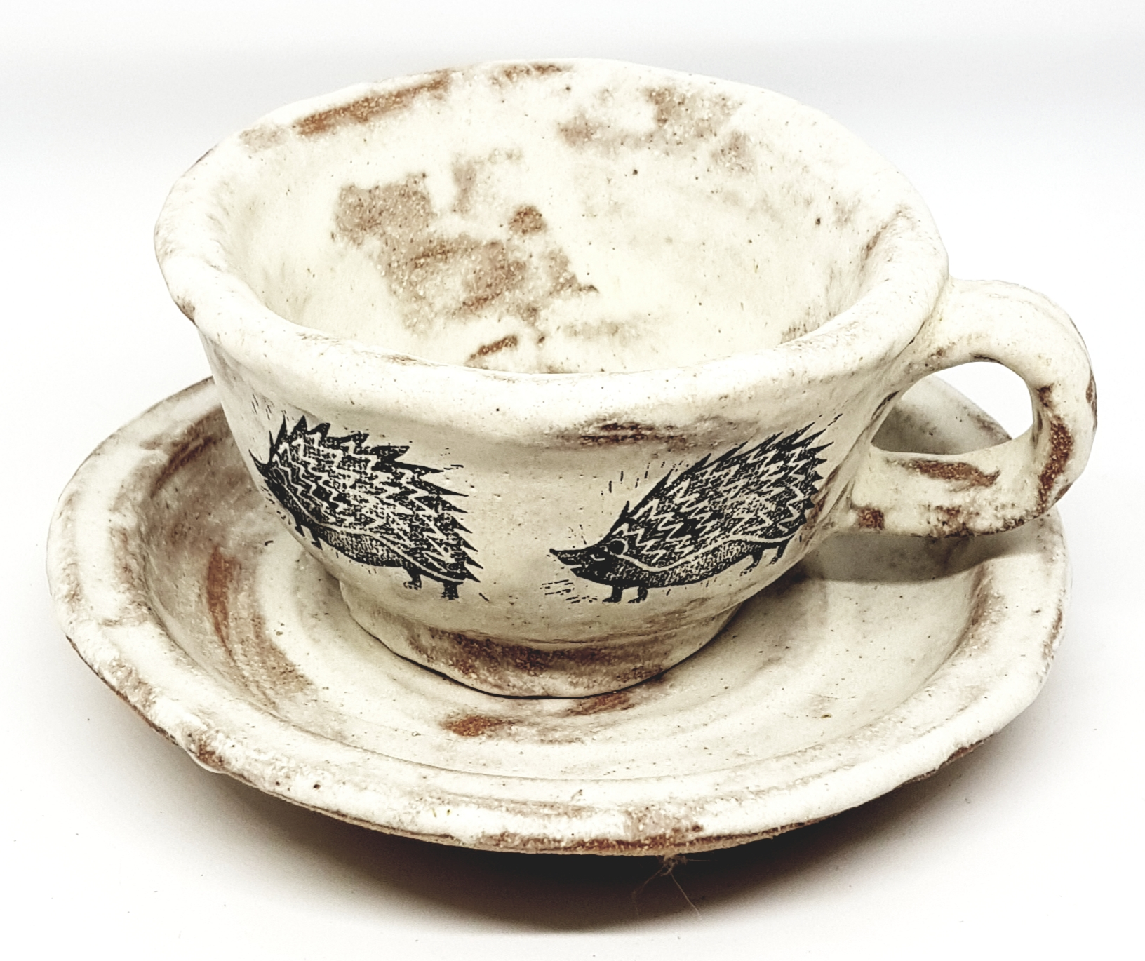 Teacup And Saucer Planter Cream Matt Glaze Hedgehog Design Jane