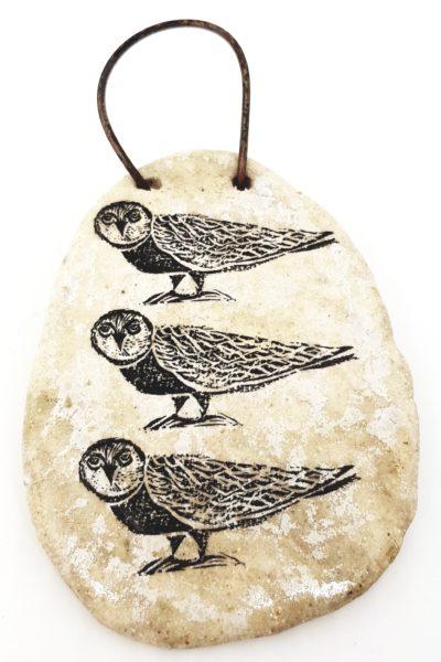 wall hanging, ceramic plaque, owl design, ceramic owls, wall plaque, jane adams ceramics