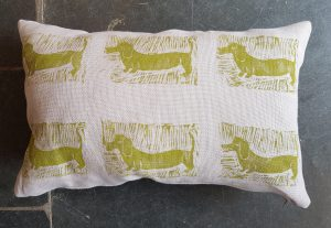 hand printed cushion, linen cushion, daschund design cushion, big cushion, designer cushion,