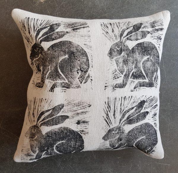 Cushion, cushions, hand printed cushions, designer cushions, hare cushions, linen cushion, linocut design, hare pattern
