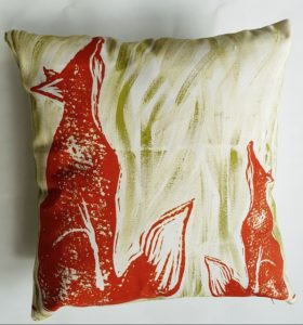 cushion, handmade cushion, foxes, fox, fox cushion, printed cushion, small cushion, designer cushion, animal print cushion, linocut, jane adams