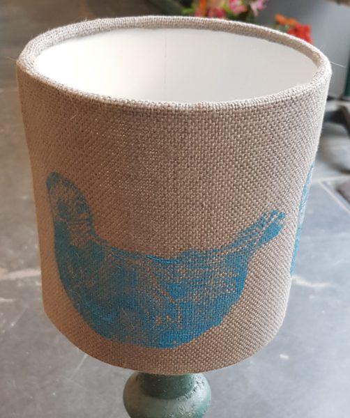 handmade, lampshade, seal, linocut, jane adams, handprinted linen, seal design