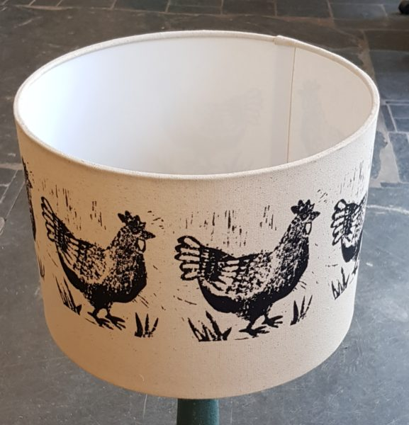 handmade lampshades, lampshades, designer lampshades, chicken design, linocuts, ceiling shades, side lamp shades, hanging shades, jane adams