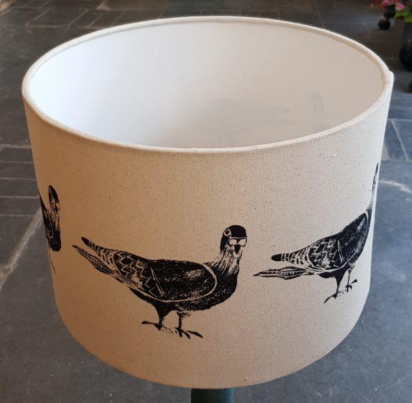 side lamp shade, lampshades, lampshade, handmade lampshades, shades, fabric shades, printed lampshades, pigeon, pigeons, pigeon themed gifts, linocut, jane adams