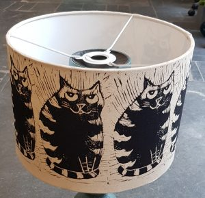 handmade lampshade, lampshade, printed lampshade, fabric lampshade, cat themed, linocut, jane adams
