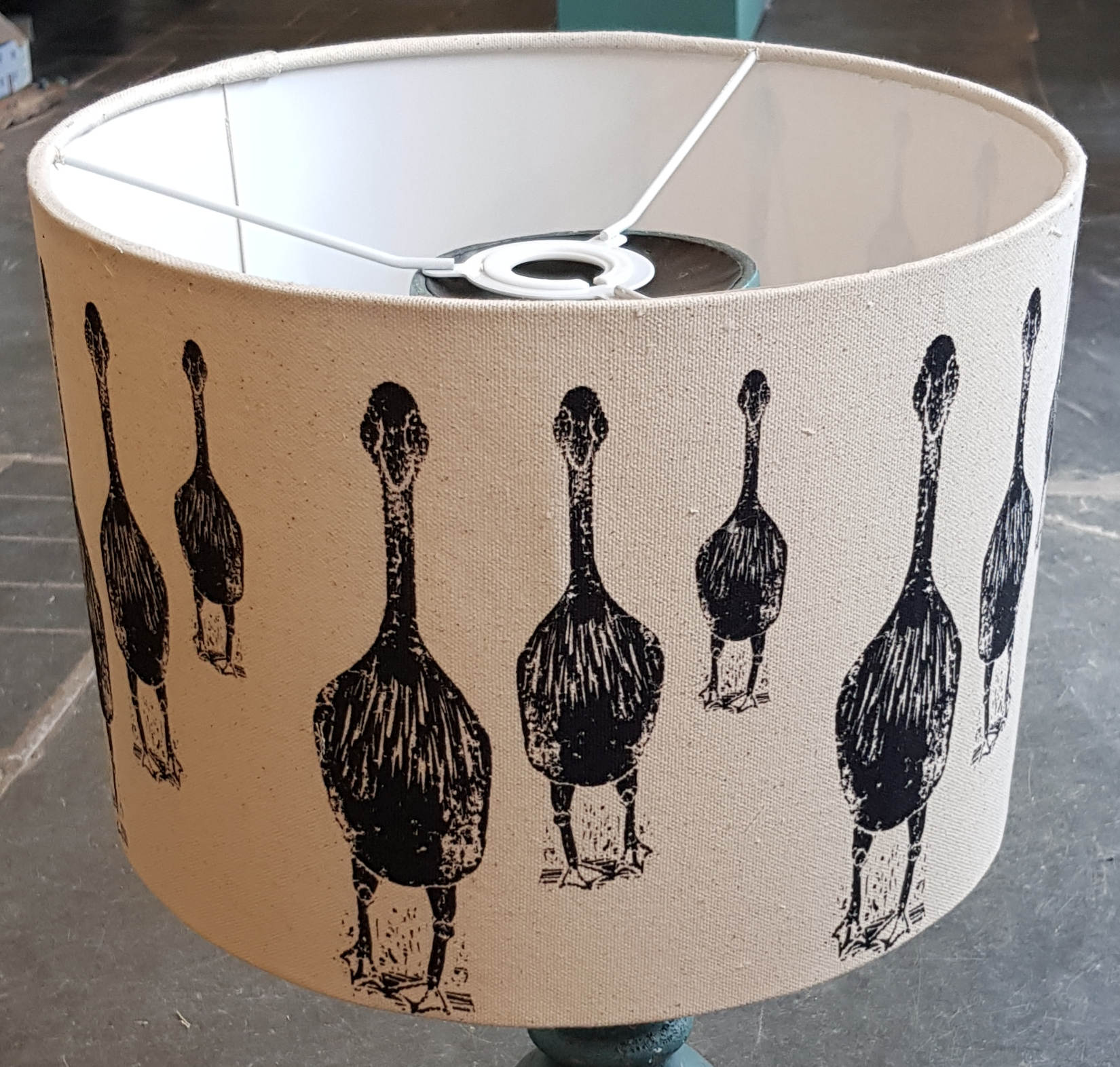 Handmade lampshade 30 cms walking geese design jane adams ceramics handmade lampshade lampshade lampshades designer lampshades fabric lampshade printed lampshade aloadofball Choice Image