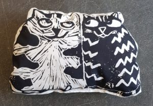 lavender bag, lavender, sachet, scented, cat themed, lino cut, jane adams