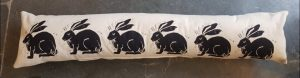 draught excluder, cushion, hare design, linocut,, home furnishings, designer cushions, hares, jane adams