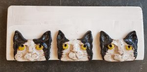 cats, black and white cats, wall hanging, cat themed, cat pottery, cat faces, jane adams ceramics, cat wall plaque, cat ornament