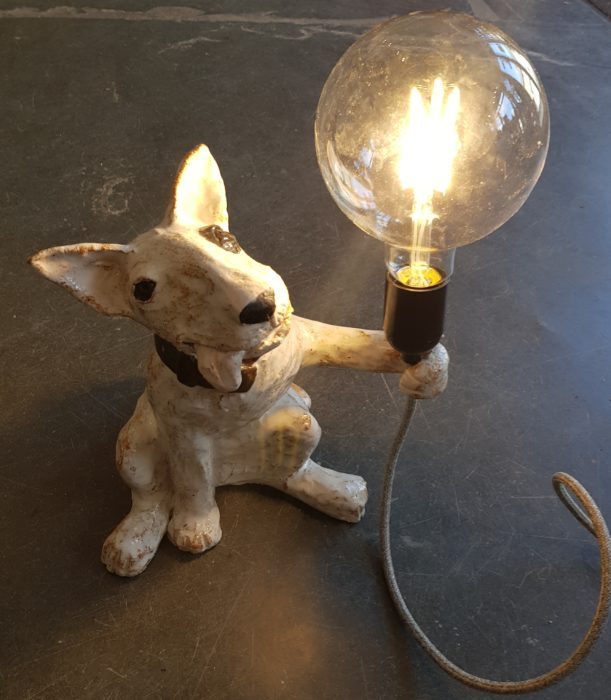 ceramic lamp. english bull terrier, vintage style bulb, plug in lamp, table lamp, ceramic lamp base, designer lighting, jane adams ceramics, studio pottery lamp base