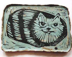 trinket dish ceramic trinket dish, dish, rectangular dish. ceramic. cat design, stripey cat design, lino printes, jane adams ceramics