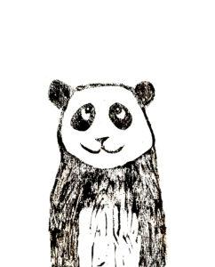 panda, linocut, panda card, greetings card, birthday card, jane adams ceramics