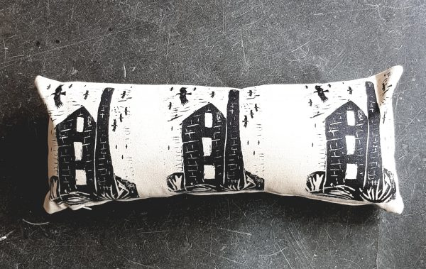 cushion, handmade cushion, printed cushion, engine house, cornish chough, textiles, homewares