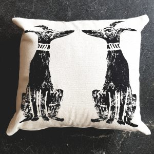 cushion, handmadem whippets, linocut, dog cushion, whippet design, homewares, handmade,