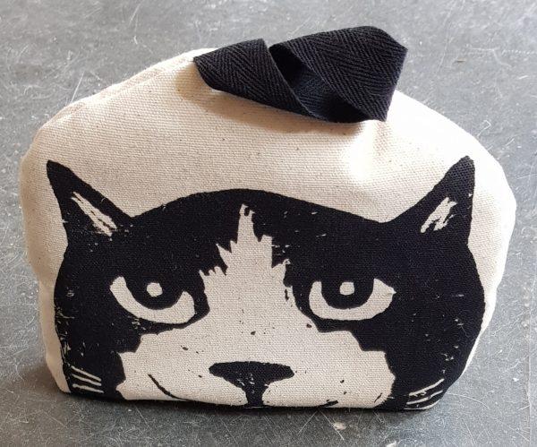 small teacosy, linocut, cat design, cat themed, cat gifts, homeware, handmade textiles
