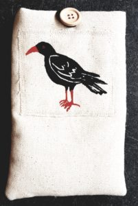 mobie phone case, padded phone cases, mobile case, specs case, lino cut, choughs, jane adams, textie phone case