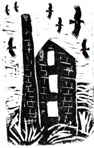 choughs, cornwall, cornish, engine house, cards, greetings cards, birthday cards, linocut, jane adams