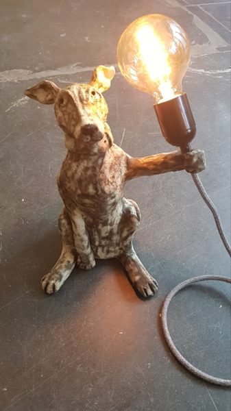 lampbase, dog lamp, vintage lamp, lighting, dog ceramics, homewares, dog gifts, stoneware, whippet, vintage biulbs