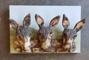 donkey, donkeys, ceramic donkeys, pottery donkeys, donkey ornaments, wall plauqe, jane adams ceramics, stoneware, handbuilt ceramics, jane adams