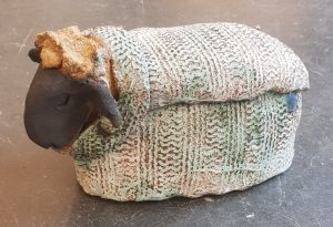 woolly jumper, sheep , ceramic sheep, pottery sheep, jane adams ceramics, handmade stoneware, studio pottery sheep, sheep ornaments, stoneware