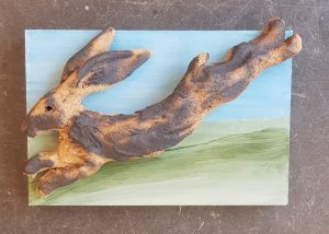 hare, hares, ceramic hares, pottery hares, hare wall plaque, hare art, jane adams ceramics