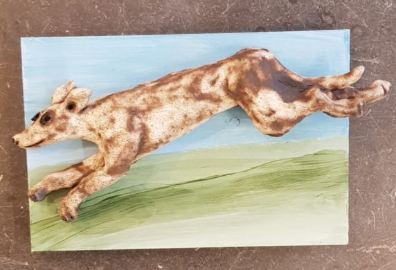 Whippet Running - Wall Plaque