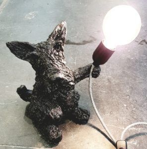 lamp base, lamp, vintage lam, ceramic lamp base, animal base, scottie dog, dog lamp, scottish terrier, ceramic scottish terrier, scottie dog lamp