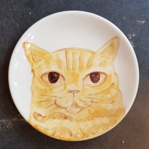 plate, hand painted plate, hand painted, ginger cat, cat, cat pottery, pottery cat, jane adams ceramics, cornwall